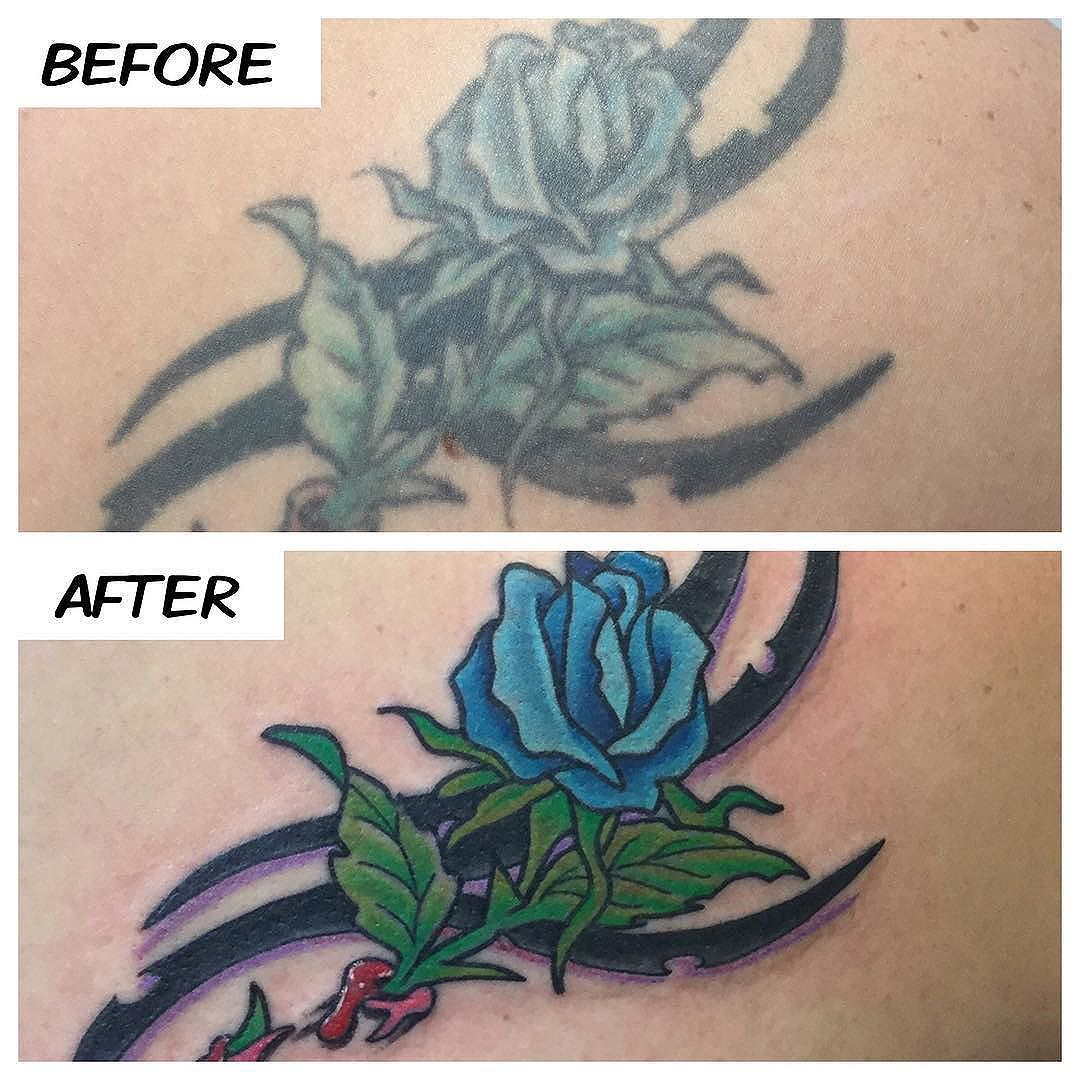 Does you old tattoo need a facelift!?!? Here's an old tattoo brought back to life on Crystal today!! Thank you!! #kruegertattoo #2189eastridgecenter #7155141263 #eauclaire #wi #tattoo #tattoos #apexpred #solaceskateco #rework