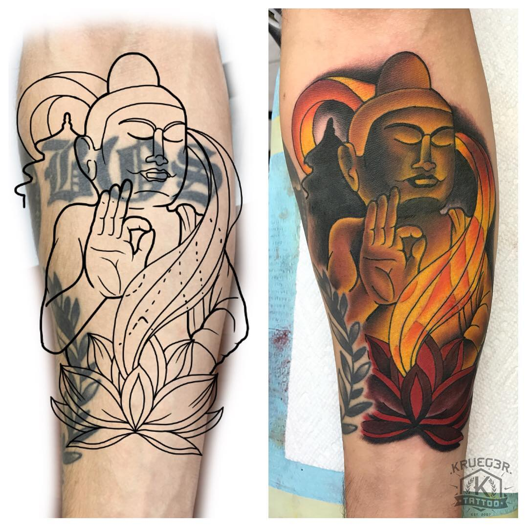 Here is a cover up project that I did on Chuck! Thanks again man! Happy that I could help out!! @chuckpfitness #kruegertattoo #kruegertattoostudio #coveruptattoo #coverup #buddha