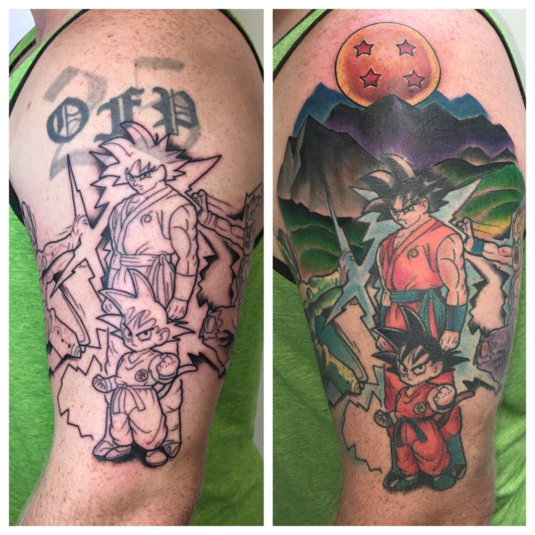 Added the 4 star ball, mountains, and rolling hills to Jacob's Dragon Ball Z tattoo project!! Doing this addition involved covering up an old tattoo that he had. The picture on the left is after his first session and shows his old tattoo that we covered with today's project. Thanks buddy!! #kruegertattoo #2189eastridgecenter #cheyennetattooequipment #fusion_inks #7155141263 #eauclaire #wi #tattoo #tattoos #solaceskateco #carmikecinema #dragonballz