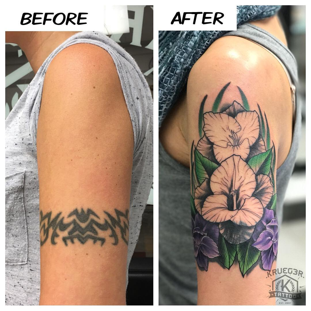 Here is a cover up project that I am working on with my client Elena. Good progress today!! #kruegertattoo #kruegertattoostudio #coveruptattoo #bestofthechippewavalley2016 #girlswithtattoos