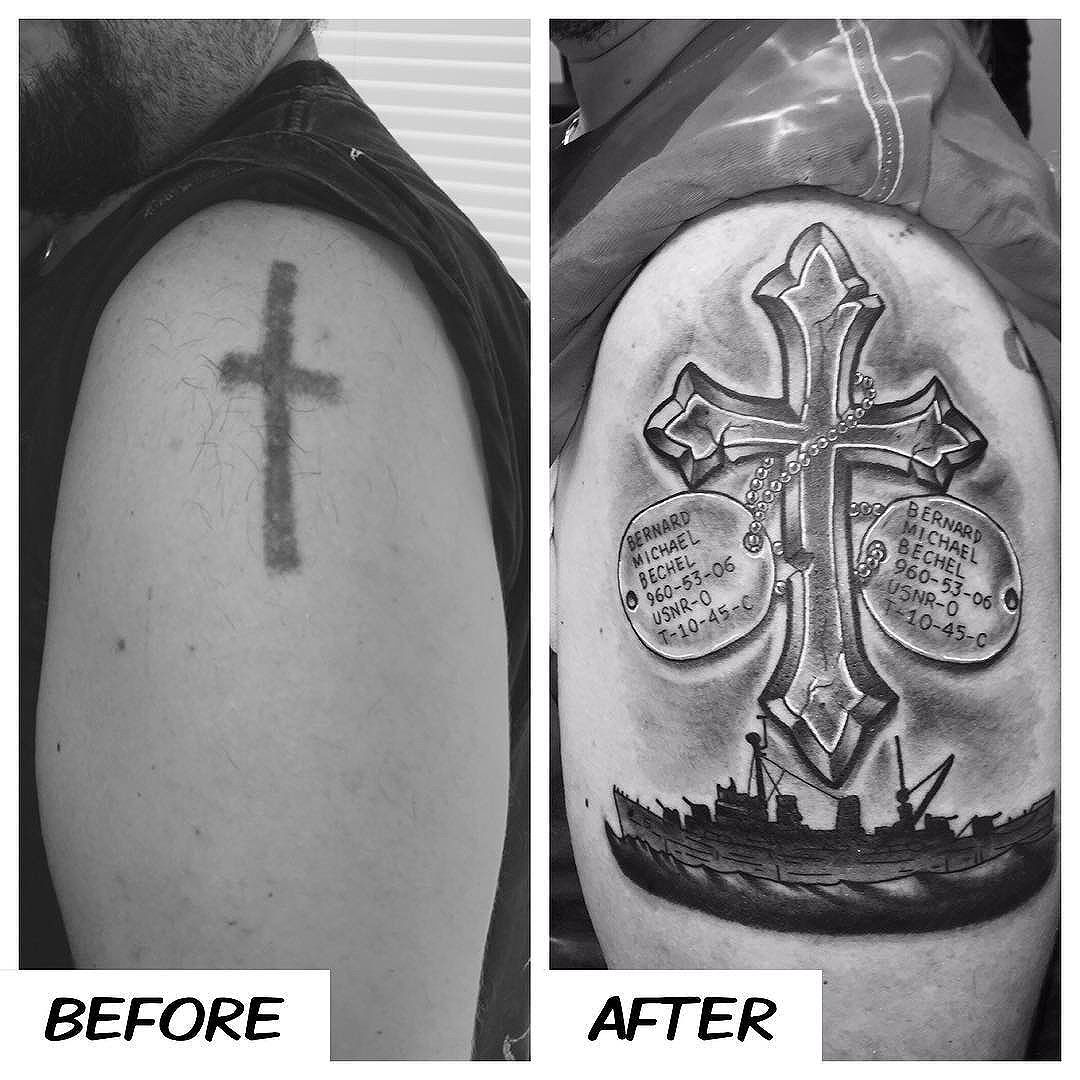 Cover-up project on Shawn. Cross with grandpa's dog tags and the U.S.S. Terror. Thanks man!! #kruegertattoo #2189eastridgecenter #7155141263 #eauclaire #wi #tattoo #tattoos #apexpred #solaceskateco #coverup